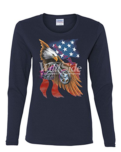 T-shirt Steel Wings (Wings of Steel Long Sleeve T-Shirt Route 66 Biker Flag Bald Eagle Navy Blue S)