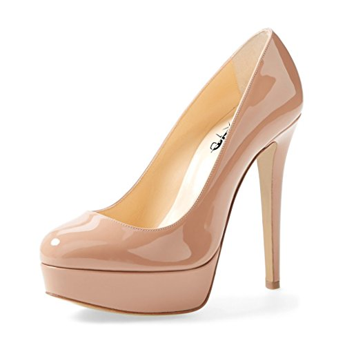 XYD Graceful Dress Shoes Almond Toe Platform High Heels Patent Leather Pumps for Women Size 12 Nude