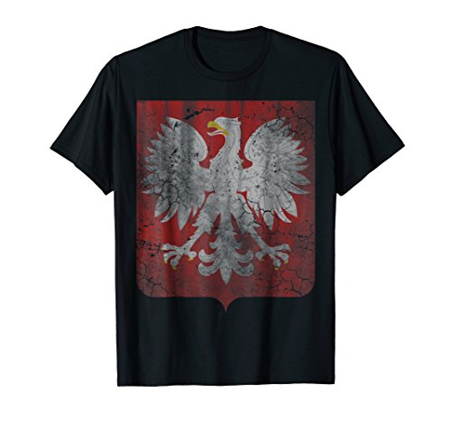 Vintage Poland T-Shirt Coat of Arms Polska Polish Shirt ()