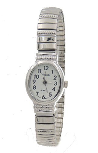 Ladies Classic Dainty Silver Tone Stretch Band Watch-Oval Shape