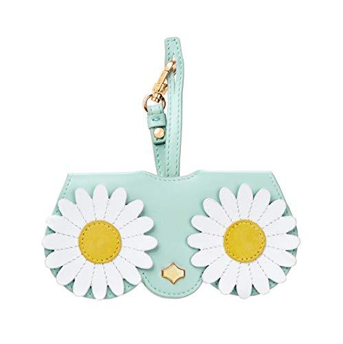 Case Bag Keychain (Poppow Women's Handmade Sunglasses Case, Cute Leather Eyeglasses Case Bag Keychain Charm Decoration Pendant Gift Accessory (L, Blue flower))