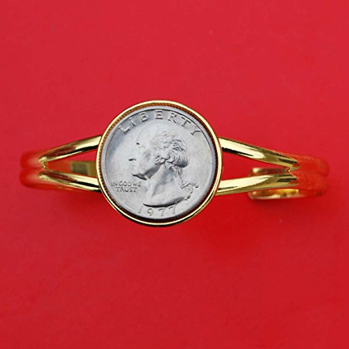 US 1977 Washington Quarter BU Uncirculated Coin Gold Plated Cuff Bracelet - NEW ()