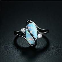Aisamaisara Genuine Women 925 Ring Black Gold Plated Marquise Cut Fire Opal Jewelry Sz 6-10 (7)