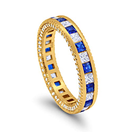 5mm Full Eternity Band Ring Alternating Princess Cut Solid Simulated Blue Sapphire Round Cubic Zirconia Yellow Tone 925 Sterling Silver, Size-9