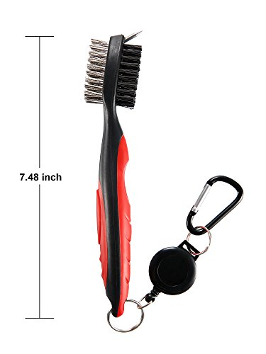 Jetec 3 Pieces Golf Double-sided Cleaning Brush Retractable Zipper Wire Groove Cleaning Tool by Jetec (Image #5)