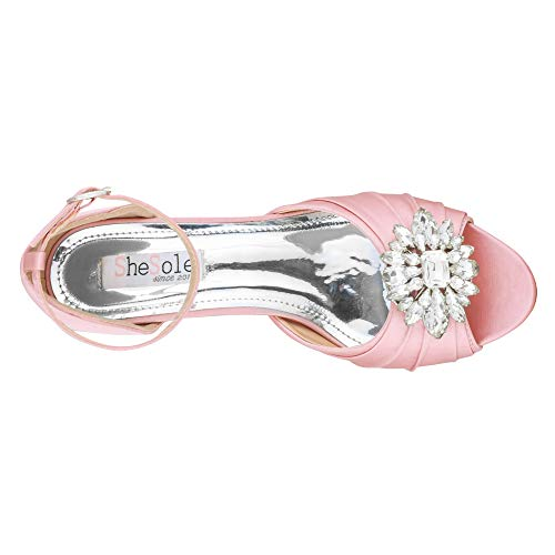 e550f12a87bd5 SheSole Womens Low Heel Dress Sandals Wedding Shoes Rhinestone Open Toe  Pumps