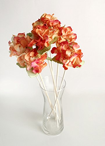 Plawanature Set of 6 Warm Orange Hydrangea Mulberry Paper Flower with Reed Diffuser for Home Fragrance - Diffuser Reeds Display