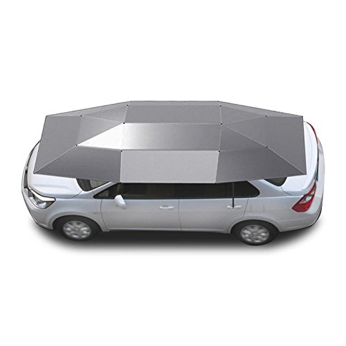 Semi Automatic Car Umbrella Folded Portable Sunproof Car Sun Shade with Remote Control Car Canopy Cover Universal Fit Car (Silver) - Silver Universal Canopy