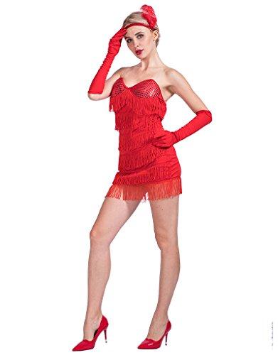 Halloween Flapper Costumes (EraSpooky Women's Red Flapper Dress Halloween Costume(Red, Small))