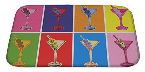 Gear New Bath Rug Mat No Slip Microfiber Memory Foam, Warhol Set Of Colored Martini Cocktails With Olives Illustration, 34x21 (Martini Set Bed)