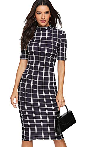 Floerns Women's Short Sleeve Gingham Bodycon Business Pencil Dress Navy S (Navy Dress Gingham)