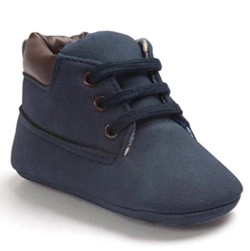 CocoMarket Toddler Sole Leather Shoes Anti-slip Soft Prewalker (13CM, Dark Blue) (Baby Boy Shoes Clearance)