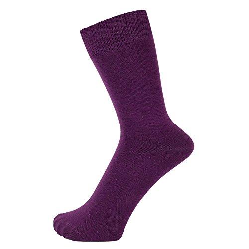 ZAKIRA Finest Combed Cotton Dress Socks in Plain Vivid Colours for Men, Women, 6-9 (US), Purple