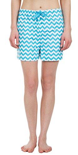 Leisureland Women's Pure Cotton Flannel Lounge Pajama Boxer Shorts Chevron Print (Medium)