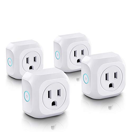 Wifi Smart Plug, Mini Wireless Control Outlet, Socket Compatible with Alexa Echo & Google Assistant Remote Control Outlet,No Hub Required(4 pcs)