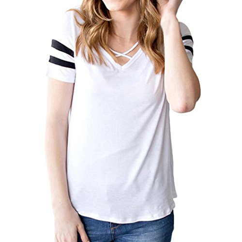 UOKNICE Fashion Women Criss Cross Front V-Neck Double Stripes Sleeve T-Shirt Blouse Top (XL, White)