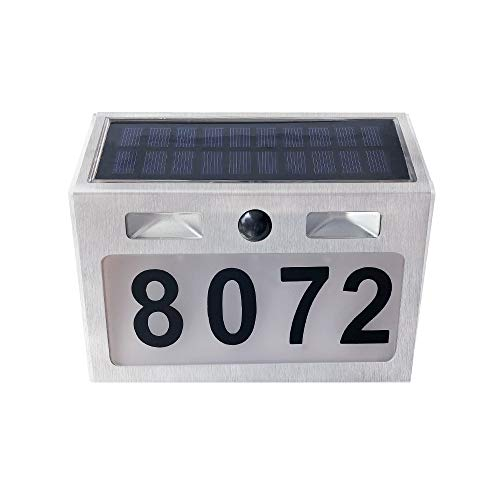 Solar Lighted Address Sign House Number Outdoor Lighting Solar Doorplate Light Waterproof Wall Lights for door Solar Motion Lights Outdoor (Lighting Address Number)