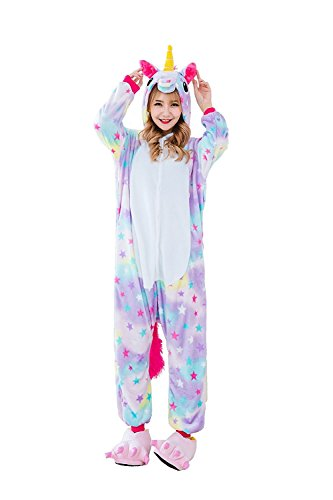 Teenager Halloween Costumes (Juxy Couture Adult and Teens Unisex Womens and Mens Star Unicorn Ultra Soft Comfy Plush One Piece Pajama Costume for Halloween and Christmas (Size: 4'9