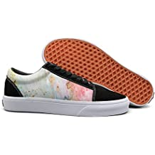 Print trendy colorful Paint watercolor shading gouache Low Top canvas sneakers