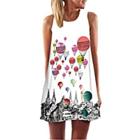 Fvjikne Sleeveless Boho Beach Dress Women Floral Print Mini Summer Chiffon Dresses Picture color3 S