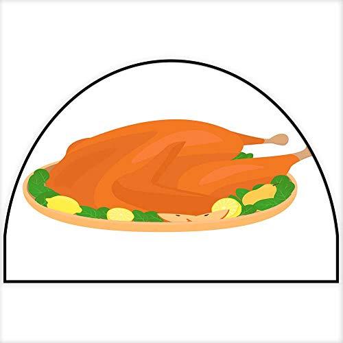 Hua Wu Chou Half Round Kitchen mathalf Round Door mat Outdoor W31 x H20 INCH Roasted Turkey Chicken on a Plate with Decoration Colored Cartoon Vector Design