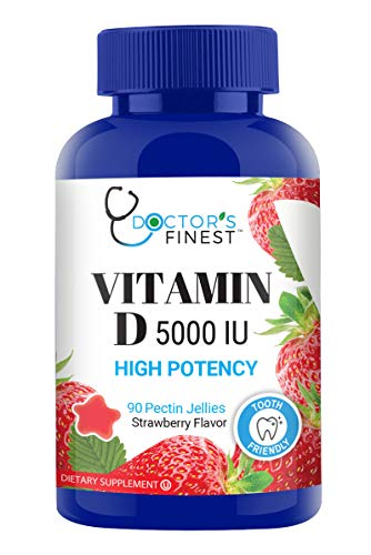 Doctors Finest Vitamin D3 5000 IU HIGH Potency Gummies – Vegetarian, GMO-Free & Gluten Free – Great Tasting Mixed Berry Flavor Pectin Chews – Adult Dietary Supplement – 90 Count [45 Day Supply]