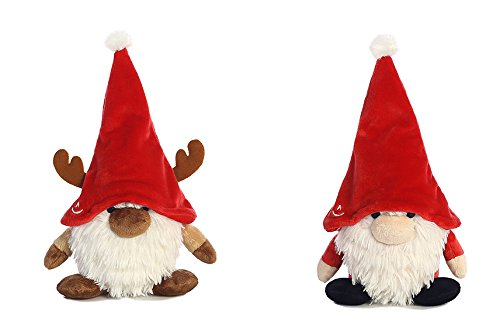 Bundle of 2 Aurora Gnomlin Stuffed Animals for Holiday Gifts - Reindoor (Reindeer) and Tinklink Santa