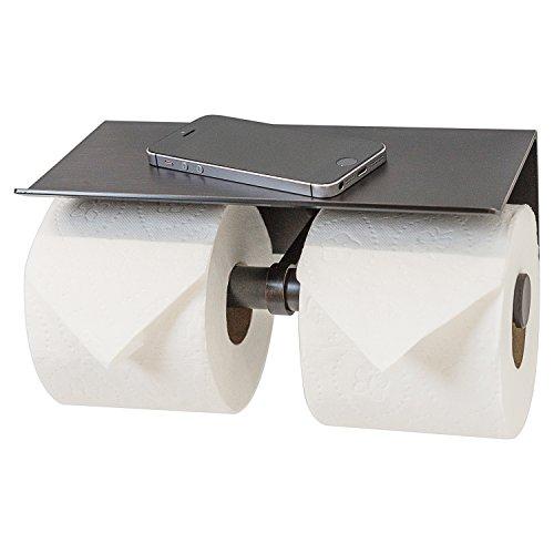 Double Roll Toilet Paper Holder with Phone Shelf - Bathroom Tissue Dispenser - Modern Style (Oil Rubbed Bronze)