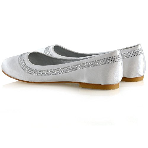 Essex Glam Donna Ballerine Da Sposa Donna Slip On Satin Diamante Damigella Party Pumps Shoes Raso Bianco
