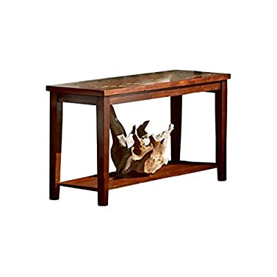 "Steve Silver Company Davenport Sofa Table, 56"" x 19"" x 30"" - Medium brown cherry finish with burnishing Hardwood solids, mind veneers, slat inlay Contemporary Style - living-room-furniture, living-room, console-tables - 41m413DeQmL. SS400  -"