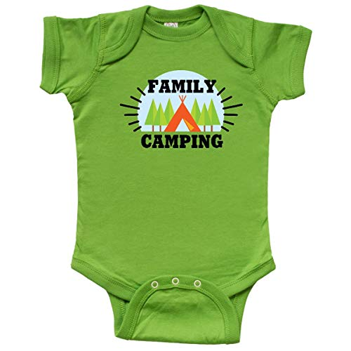 inktastic Family Camping with Tent and Trees Infant Creeper 6 Months Apple Green (The Boy And The Apple Tree Story)
