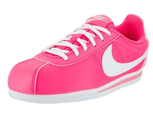 NIKE Kids Cortez Nylon (GS) Hyper Pink/White Casual Shoe 6 Kids (Cortez Nylon)