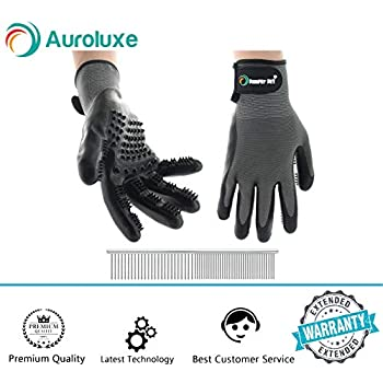 Cat and Dog Pet Grooming Glove: Pair of Hair Remover Glove Brushes for Shedding – Hand Brush for Cats and Dogs to Help with Deshedding – Stainless Steel Comb for Pets Included with Fur Removal Gloves