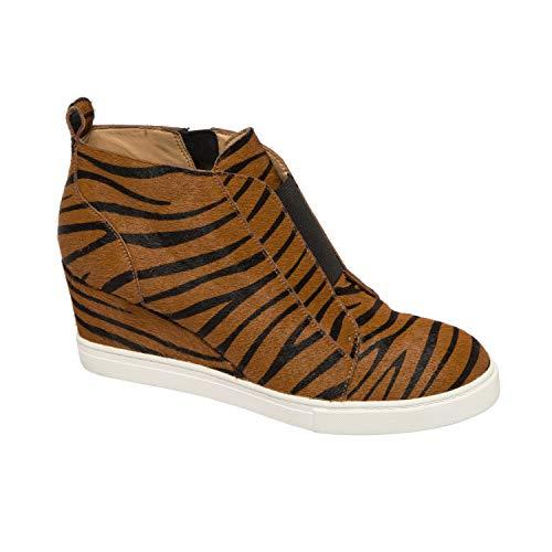 (Felicia III | Our Original Platform Wedge Sneaker Bootie Caramel/Black Zebra Print Hair Calf 8M)