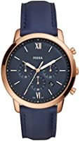 Fossil Men's 'Neutra Chrono' Quartz Stainless Steel and Leather Casual Watch, Color:Blue (Model: FS5454)