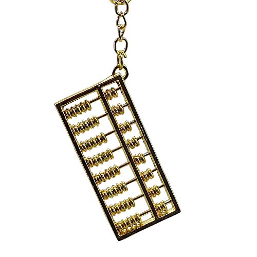 Gold Abacus Keychain, Chinese Style 9 Rows Abacus Keyring Key Pendant Keyfob Craft Handbag Decoration(8.5cm) (Row Abacus)