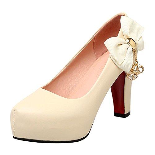 Charm Foot Womens Fashion Bows Platform High Heel Pumps Shoes Apricot TZcQhC0