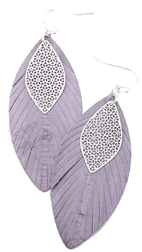 - Purple and Silver Filigree Leaf Genuine Leather Earrings, 1.25