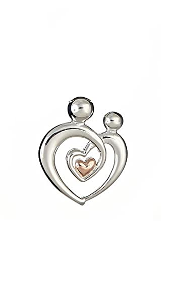 Sterling silver mother and child heart pendant with rose gold tone sterling silver mother and child heart pendant with rose gold tone mozeypictures Images