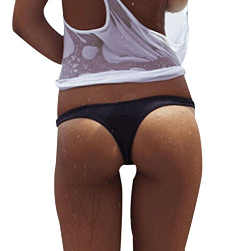 Gotd Womens Underpants Bikini Beach Bathing T-Back Thong G-string (L, Black)