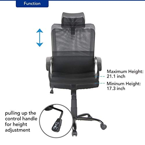 Smugdesk Ergonomic Office Chair Adjustable Headrest Mesh Office Chair Office Desk Chair Computer Task Chair (Black) - 2579 by Smugdesk (Image #3)