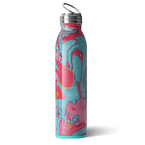Lead Cotton Candy - Swig Life Stainless Steel Signature 20oz Water Bottle with Screw-On Flip Ring Cap in Cotton Candy