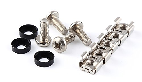 Anti-rust - Extended length 16mm - 20 Pack Rack Mount Screws & Cage Nuts for Server Shelves Cabinets M6 - Extended Cage