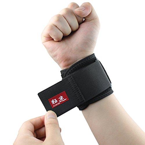 Kuangmi Tennis Volleyball Sports Wrist Support Adjustable Wrist Band Compression Wrist Brace by Kuangmi