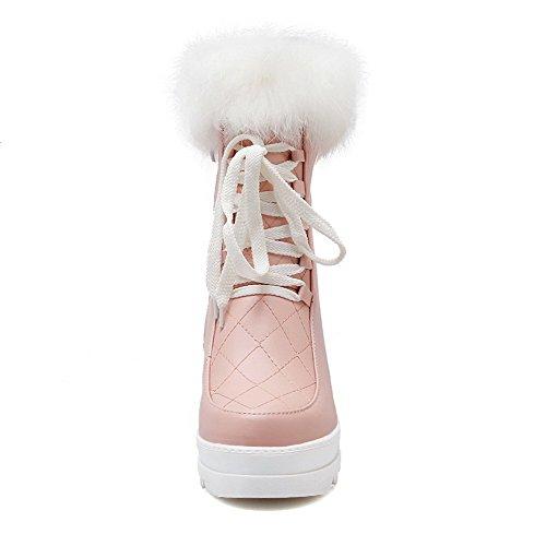 Amoonyfashion Mujeres Soft Materials Cerrado Round Toe Kitten-heels Botas Sólidas Rosa