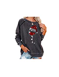 YXC Women Red Wine Glass Christmas Sweater Santa Hat Graphic Long Sleeve Sweatshirt