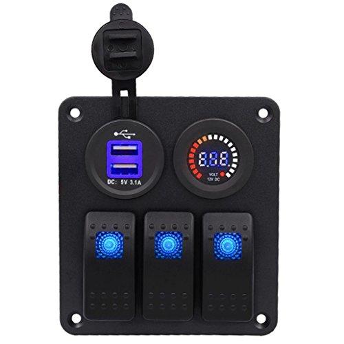 Switch Panel,Hmlai WUPP 3PIN Switch Panel Gang Waterproof Car Auto Boat Marine LED Rocker Switch Panel Circuit Breakers (3 (Single Gang Readers)