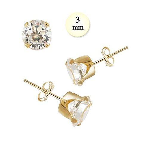 14K Yellow Gold Stud Earring Aprx .24 Carat Total Weight, 3mm Each Round Simulated Diamond Earring. Set on Stamping Setting & Friction Style (0.24 Ct Earring)