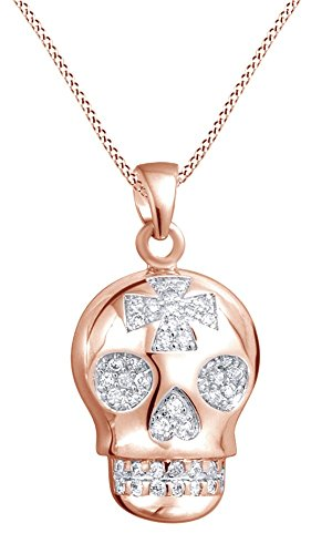 Round Cubic Zirconia Sugar Skull Cross Pendant Necklace In 14K Rose Gold Over Sterling Silver