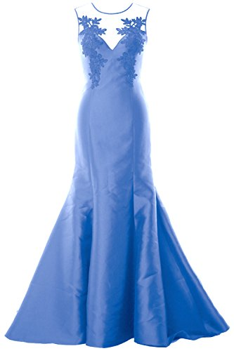 MACloth Women Mermaid Evening Gown Straps Illusion Lace Satin Formal Party Dress Azul